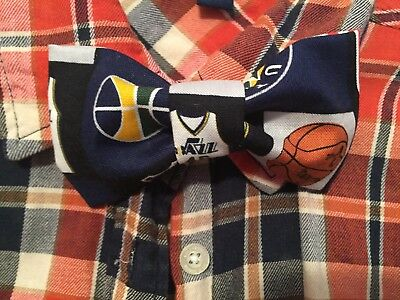 New Handmade NBA Inspired Bow Tie Fits All Ages - Clip On - Utah Jazz