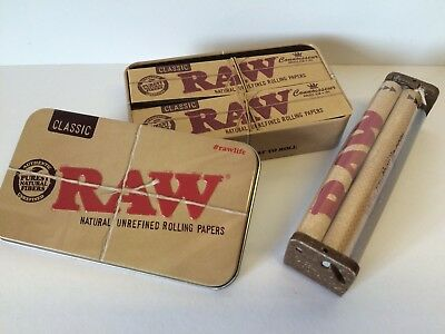 BUNDLE: 4 PKS RAW King Size CONNOISSEUR Papers,TIPS,Storage TIN,Rolling Machine