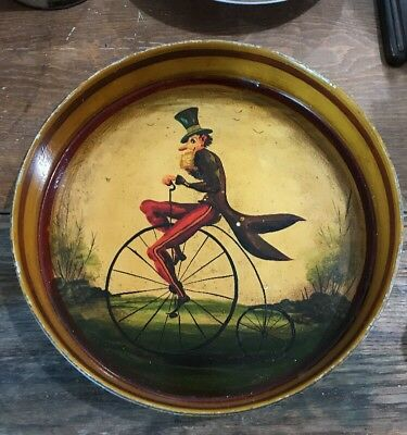 ANTIQUE RED RETICULATED RIM TOLE TRAY HAND PAINTED Man Bicycle Cirque