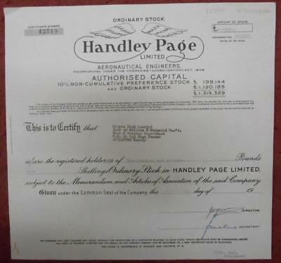 30988 GB 1966 Handley Page Aeronautical Engineers Ordinary Stock certificate