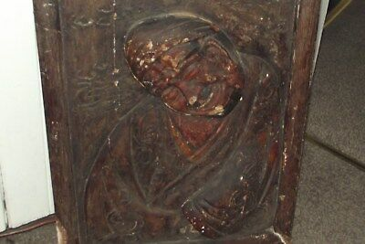 OLD ANTIQUE CHINESE JAPANESS CARVED WOODen PANEL ATTIC FIND