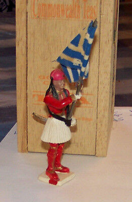 "AOHNAS Greek Soldier Figure 3"" Plastic w/ Cloth Flag Traditional Uniform AOHNA"