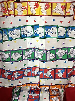 """Looney Tunes Warner Brothers Valances 3 Total Made In USA 82"""" X 17"""" Cotton Blend"""