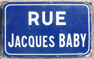 Old blue French enamel steel street sign road plaque name rue Jacques Baby Jack