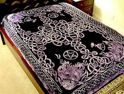 Celtic God Tapestry Purple Hippie Medieval Wicca  Wall Hanging Bedspread