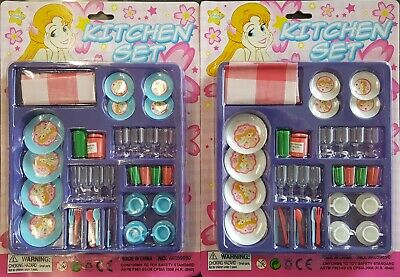 2 PACK LOT Children\'s Kitchen Play Set Plates Cups Utensils Doll House 3+