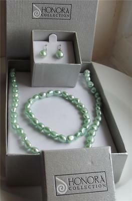Honora Celadon Pearl Sterling Silver Necklace Bracelet Earrings Set New Box Qvc
