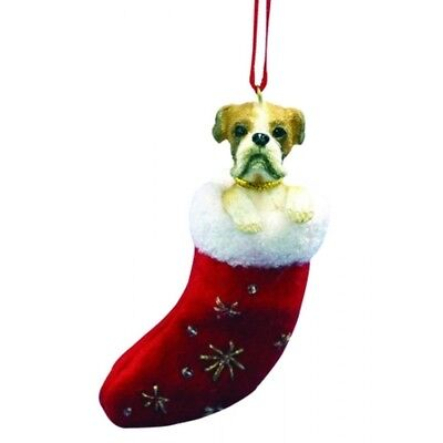 Boxer uncropped Dog Santa's Little Pals Stocking Christmas Ornament
