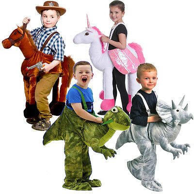 Kids Dress Up Riding Costumes Dinosaur Horse Unicorn Ages 3-7 Fancy Dress NEW