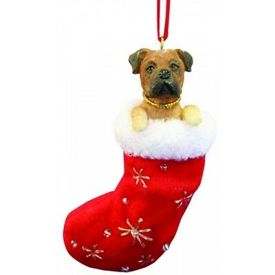 Bullmastiff Dog Santa's Little Pals Stocking Christmas Ornament