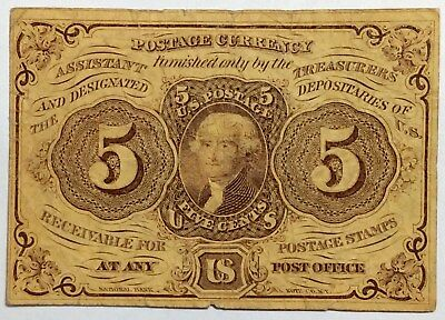 1862  5 CENTS FRACTIONAL POSTAGE CURRENCY - Nice Condition - No Reserve