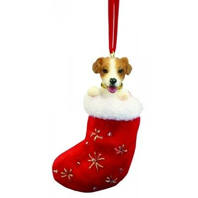Jack Russell Terrier Dog Santa's Little Pals Stocking Christmas Ornament