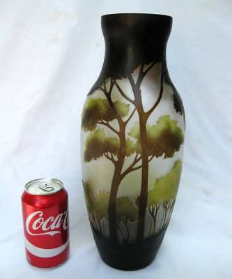 """Large 14"""" Tall Art Nouveau Multi Layer Trees Forest Cameo Glass Vase Signed Se"""