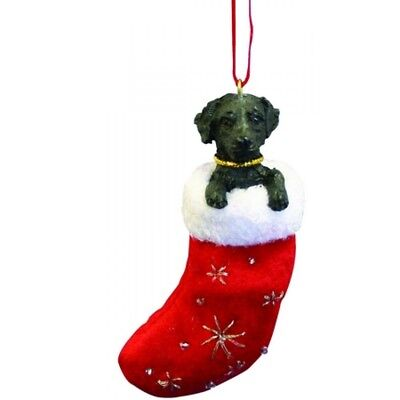 Labrador Retriever black Dog Santa's Little Pals Stocking Christmas Ornament