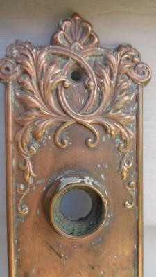 Ornate Antique Door Plate Stamped Copper / Steel  W/ Key Hole  Size 8 ½ x 2 1/2