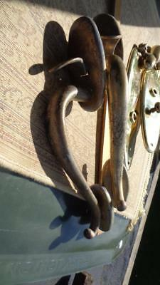 """Set of Large Brass Door Handles Has a little Age Wear 11"""" long overall"""