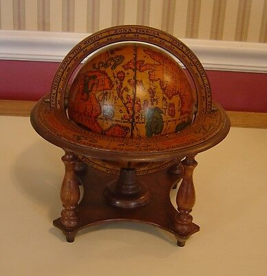 Vintage Italian Italy Old World Zodiac Globe On Stand Spins