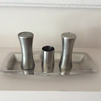 Chichester stainless steel cruet set on a Viner's Tray
