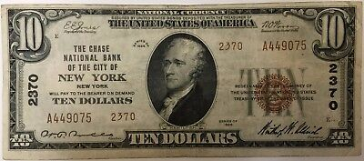 $10 1929 New York Chase National Currency Bank Note Bill #2370 Nice Shape