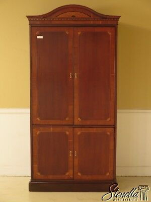 41321: HEKMAN Inlaid Mahogany 4 Door TV Cabinet Armoire