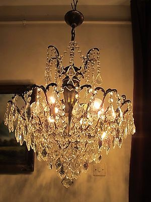 Antique Vnt.French HUGE SPIDER Style BOHEMIA Crystal Chandelier Lamp 1940's 20in