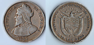 1904 Silver Panama 50 Centesimos. Beautiful Item To Have For Your Collection.