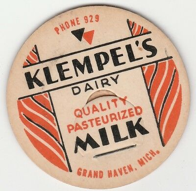 Lot Of 12 Milk Bottle Caps. Klempel's Dairy. Grand Haven, Mi.
