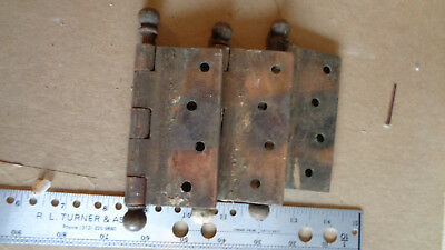 "3 SW Brass ? Door Hinges 5 1/2 "" Pin Size  4 x 1 3/4"" 1 Side Vintage Used"