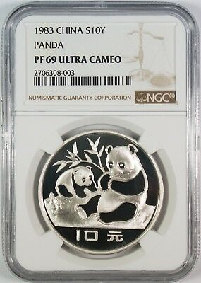 1983 10Y China Silver Panda NGC MS69 **First Year-Key Date**