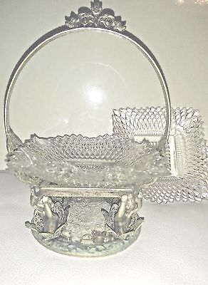 Antique Victorian Bride's Flower Basket Wedding Cherubs Crystal dish Candy