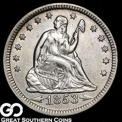 1853 Seated Liberty Quarter, Arrows & Rays!