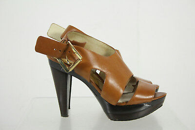 Michael Kors Brown Leather Upper Open Toe Cone Heel Sandals Shoes Size 7.5