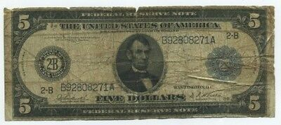 1914 Series $5 Federal Reserve Note Fr.-850 Burke/Houston