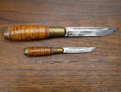 Rare Puukko Father and Son Double Fishing Hunting Knife Finland with Sheath