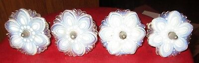 4 1860's Antique Sandwich Glass Opalescent Curtain Tie Backs 3""