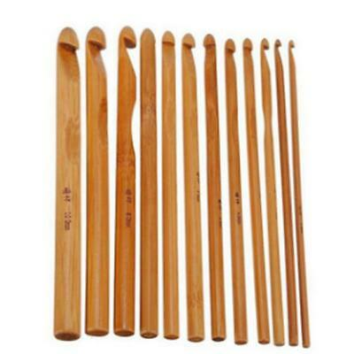 Practical 12 Sizes Bamboo Handle Crochet Hook Knit Sweater Weave Yarn Needle - S