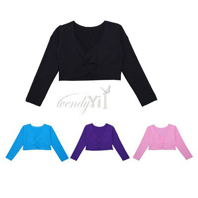 Girls Childrens Pink Ballet Dance Cotton Crossover Wrap TOP Jacket Outwear 3-8Y