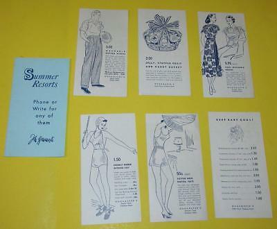 Vintage John Wanamaker Ny Booklet With 6 Paper Cards Of Different Items