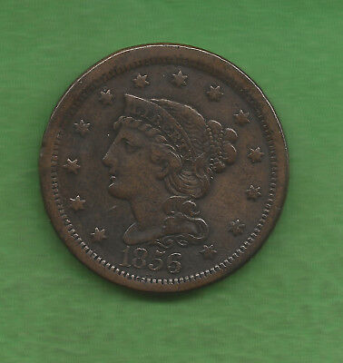1856 Braided Hair, Large Cent, Slanted '5' - 161 Years Old!!!