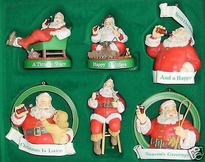 COKE COCACOLA SANTA CLAUS ORNAMENTS Boxed Set of 6 Artist Haddon Sundblom 1991