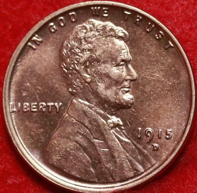 Uncirculated Red 1915-D Denver Mint Copper Lincoln Wheat Cent Free Shipping