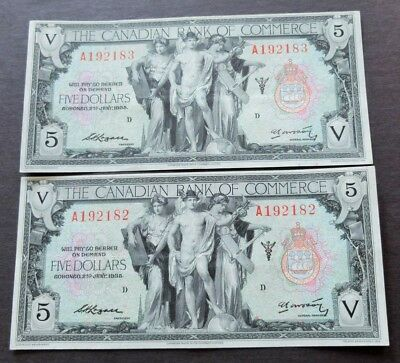 1935 Scarce Consec. Pair Of The Canadian Bank Of Commerce $5 Notes, Ef, Lot#621