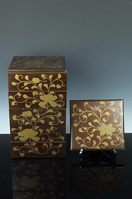 Japaense Antique Wood Lacquer Makie Nashiji Multiple Lunch Box Jyubako Sep153