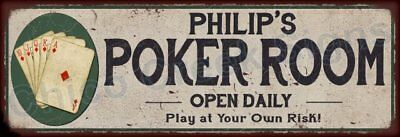 Phillip's Poker Room Game Metal Sign 6x18 Rusty Man Cave Decor 61804083