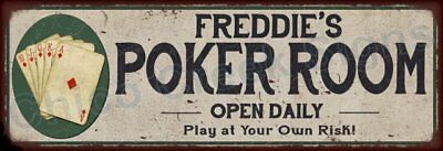 Frederick's Poker Room Game Metal Sign 6x18 Rusty Man Cave Decor 61803882