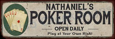 Nathan's Poker Room Game Metal Sign 6x18 Rusty Man Cave Decor 61804056