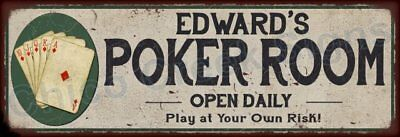 Edwin's Poker Room Game Metal Sign 6x18 Rusty Man Cave Decor 61803852