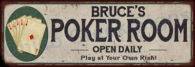 Bryan's Poker Room Game Metal Sign 6x18 Rusty Man Cave Decor 61803762