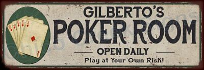 Gilbert's Poker Room Game Metal Sign 6x18 Rusty Man Cave Decor 61803896