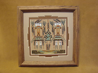 Native American Indian Authentic Navajo Sandpainting by Le Hawley